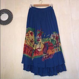 Vintage Flowy Long Skirt Tropical Women's 14